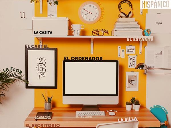 Nauka hiszpańskich słówek: Edukacyjna tapeta na pulpit: Biuro // Hispanico.pl