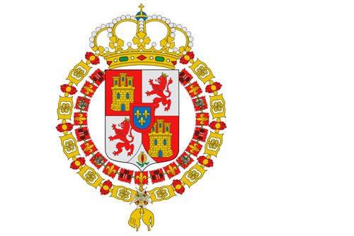 Flaga używana dla oznaczenia nadmorskich terytoriów Hiszpanii, zamków i obwarowań (1701-1771 r. oraz w 1793 r.) // Hispanico.pl