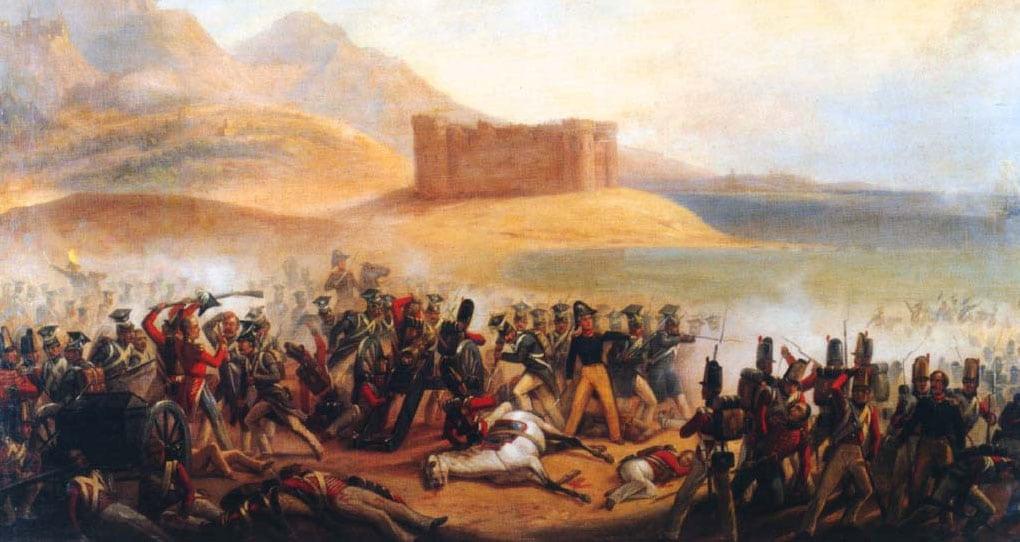 """Obraz """"Bitwa pod Fuengirolą"""" (January Suchodolski). W tle widoczny Zamek Sohail // Hispanico.pl"""
